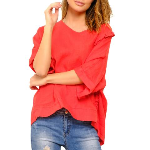 100% Linen Red Relaxed Linen Top
