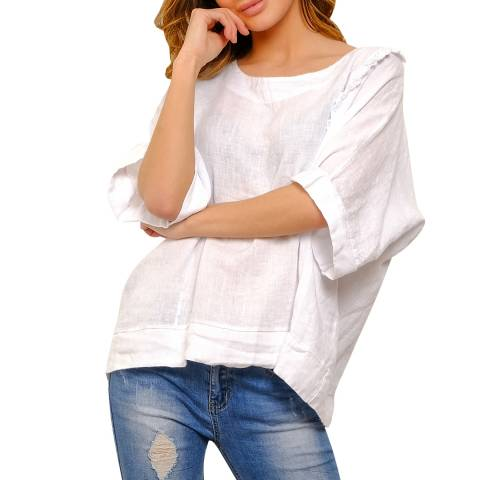 100% Linen White Relaxed Linen Top