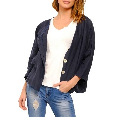 100% Linen Navy Linen Relaxed Jacket