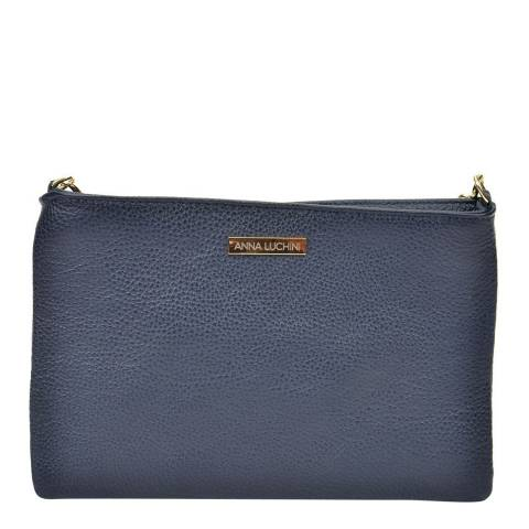 Anna Luchini Navy Leather Crossbody Bag