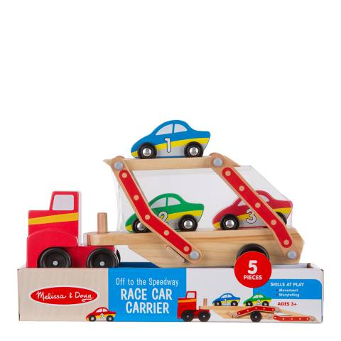 Melissa and Doug Wooden Race Car Carrier/Off To The Speedway