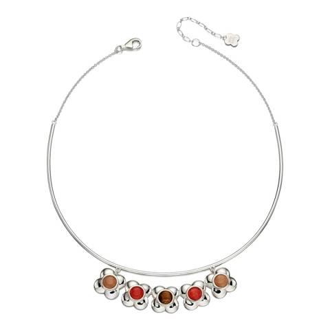 Orla Kiely Silver/Multi Tigers Eye Flower Choker Necklace