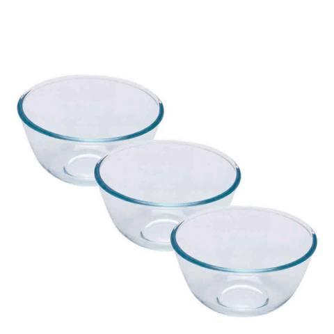 Pyrex Set of 3 Bowls, 0.5L