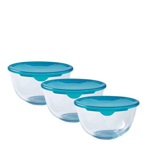 Pyrex Set of 3 Bowls with Lids, 1L