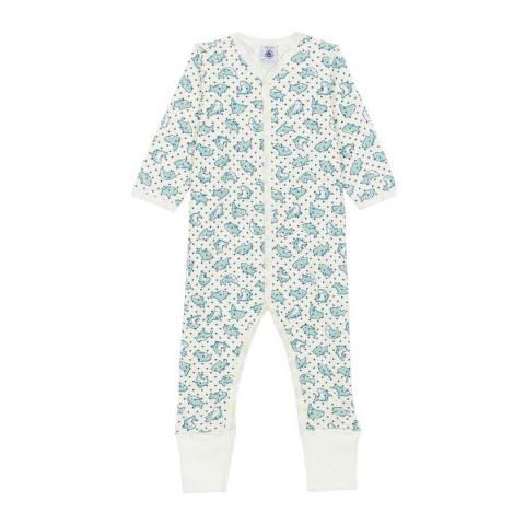 Petit Bateau Baby Boy's Blue/White Ribbed Sleepsuit