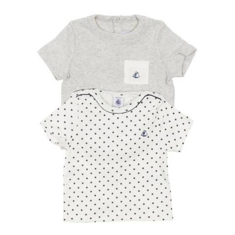 Petit Bateau Baby Boy's White/Grey T Shirt Set
