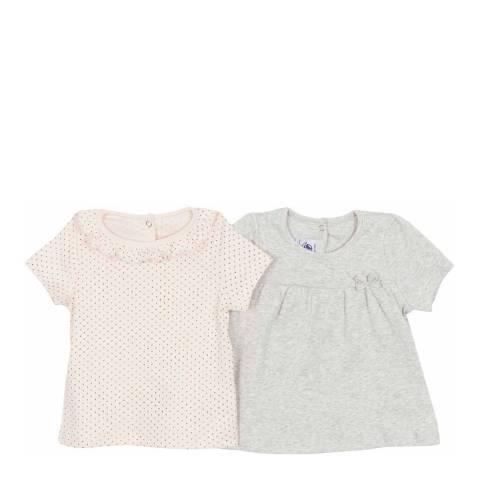Petit Bateau Baby Girl's Pink/Grey T Shirt Set