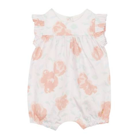 Petit Bateau Baby Girl's Pink Print Satin Playsuit
