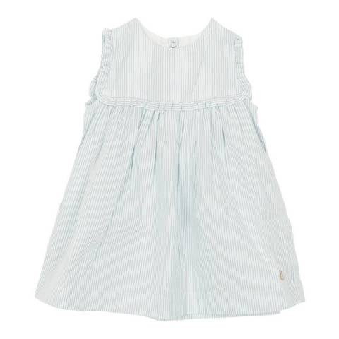 Petit Bateau Baby Girl's Blue Sleeveless Striped Dress