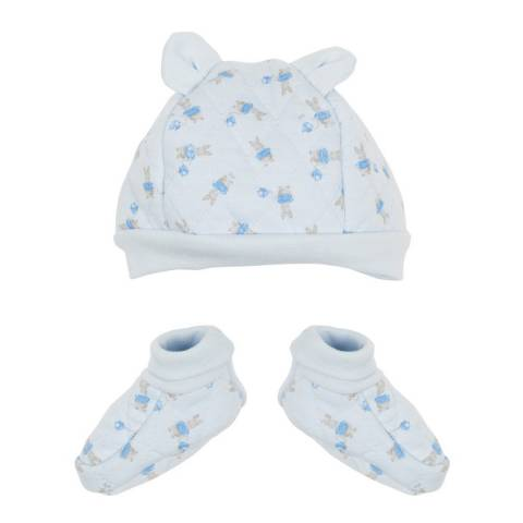 Petit Bateau Baby Boy's Blue Hat And Booties