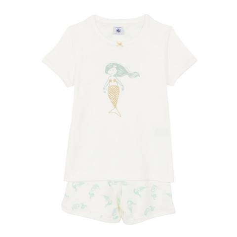 Petit Bateau Kid's Girl's White Ribbed Short Pyjamas