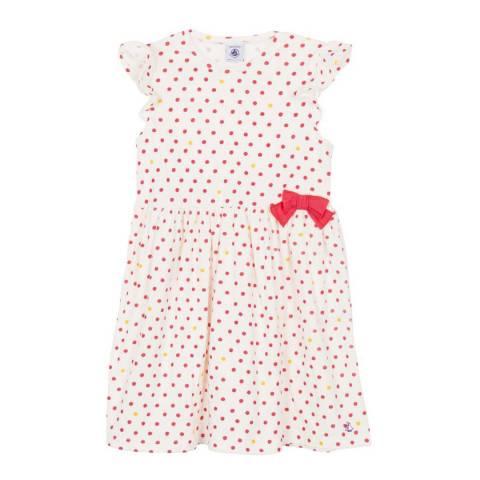 Petit Bateau Kid's Girl's White/Pink Dress