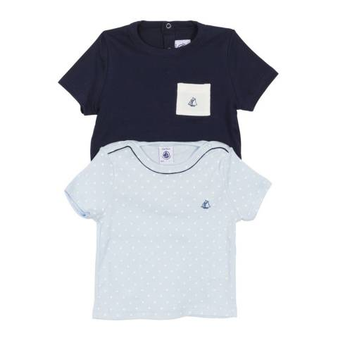 Petit Bateau Baby Boy's Navy/Blue T Shirt Set