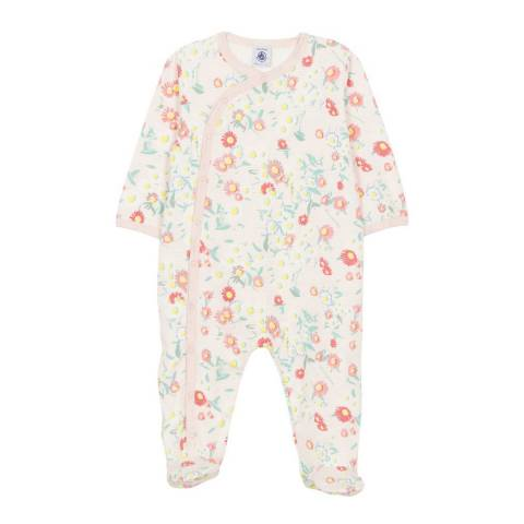 Petit Bateau Baby Girl's Pink Ribbed Sleepsuit