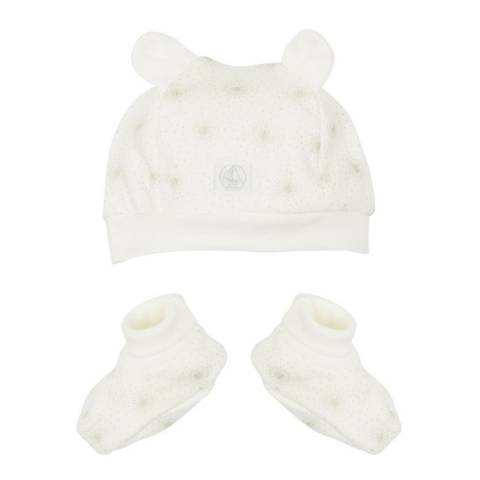 Petit Bateau Baby Baby White Hat And Baby Booties