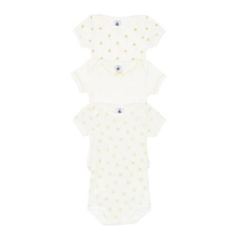 Petit Bateau Baby Girl's White Short Sleeved Bodysuit Set