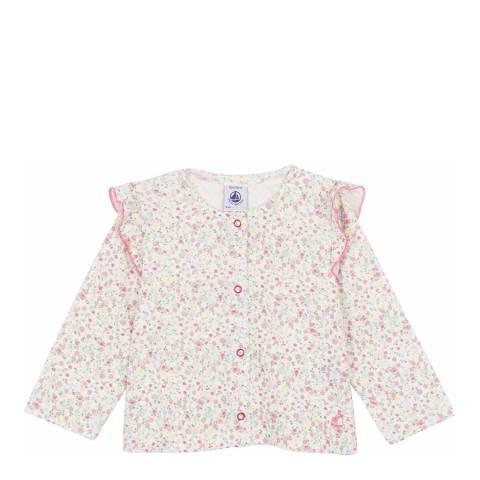Petit Bateau Baby Girl's Pink/White Lightweight Cardigan