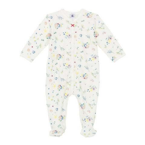 Petit Bateau Baby Girl's White Ribbed Sleepsuit