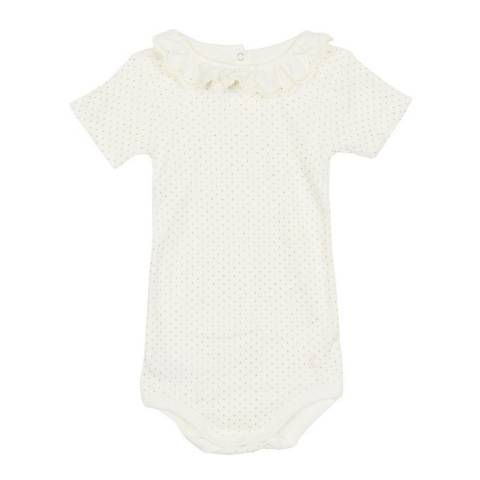 Petit Bateau Baby Girl's White Bodysuit with Ruffles
