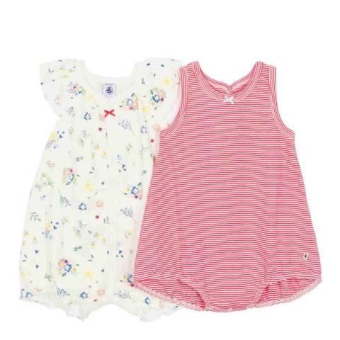 Petit Bateau Baby Girl's White/Pink Ribbed Playsuit Set