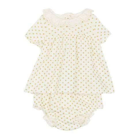 Petit Bateau Baby Girl's White/Yellow 2 Piece Set