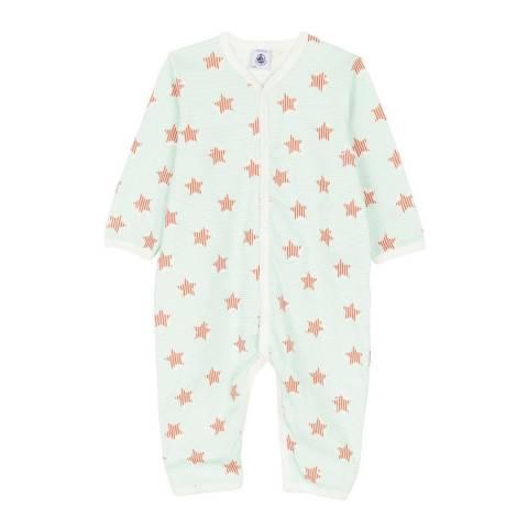 Petit Bateau Baby Unisex Blue/White Footless Sleepsuit