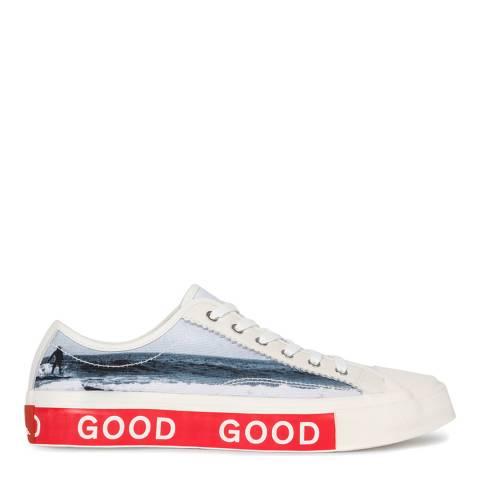 PAUL SMITH Grey Surfer Print Tennis Sneakers