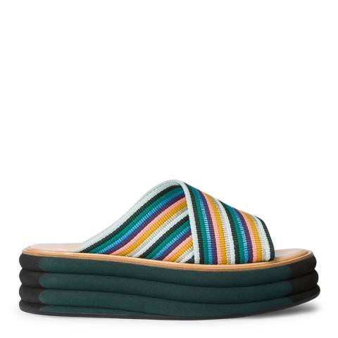 PAUL SMITH Multi Stripe Debra Artist Wedge Sliders