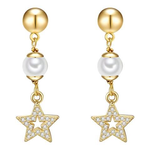 Kaimana Gold/White Pearl Star Earrings