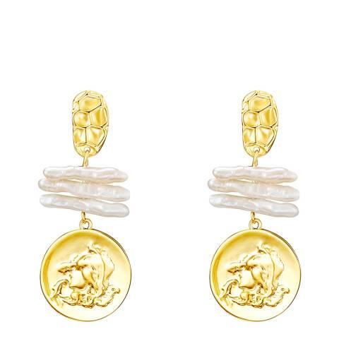 Kaimana Gold/White Freshwater Pearl Coin Earrings