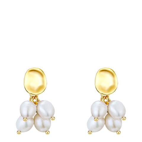 Kaimana Gold/White Freshwater Pearl Cluster Earrings