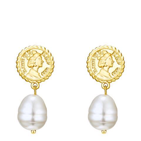 Kaimana Gold/White Pearl Coin Earrings