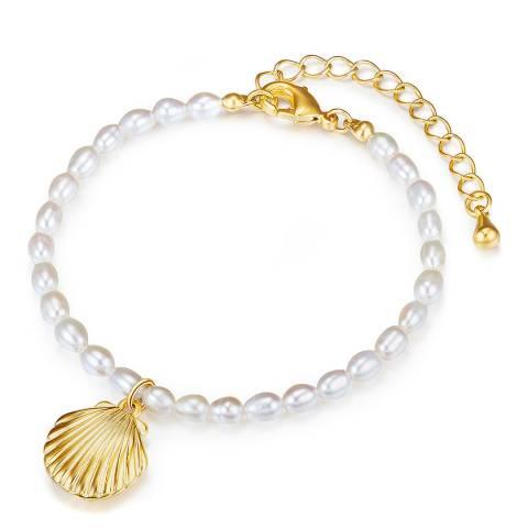 Kaimana Gold/White Freshwater Pearl Seashell Bracelet
