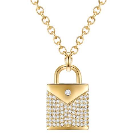 Glamcode Gold Crystal Lock Necklace