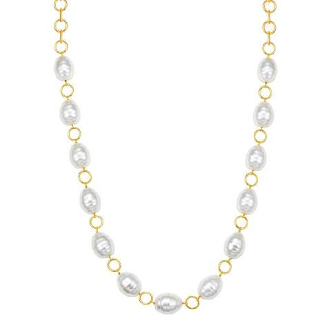 Kaimana Gold/White Pearl Necklace