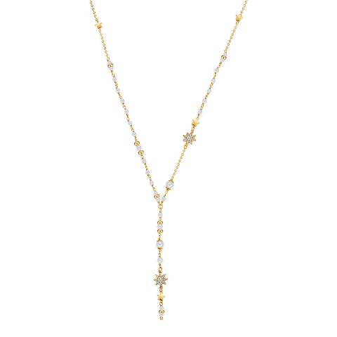 Kaimana Gold/White Pearl Star Necklace