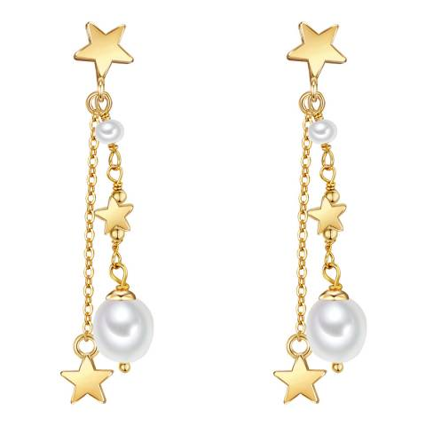 Kaimana Gold/White Freshwater Pearl Star Earrings