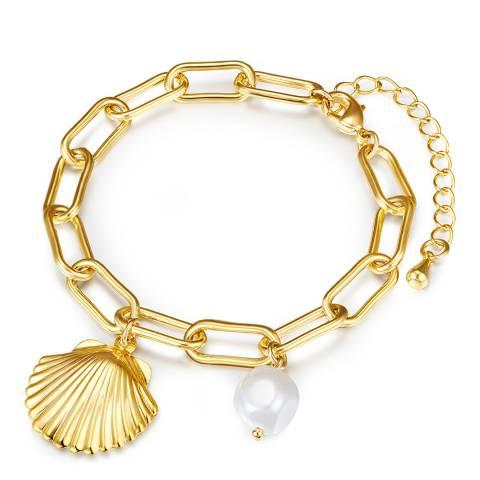 Kaimana Gold/White Pearl Seashell Bracelet