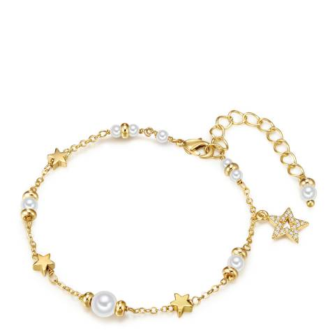 Kaimana Gold/White Pearl Star Bracelet