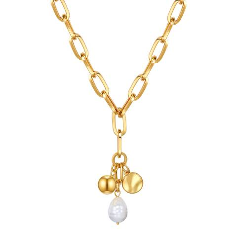 Kaimana Gold/White Pearl Charm Necklace