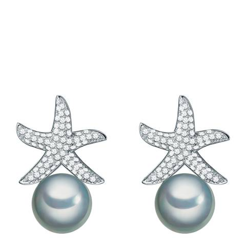 Kaimana Silver/Blue Pearl Starfish Earrings