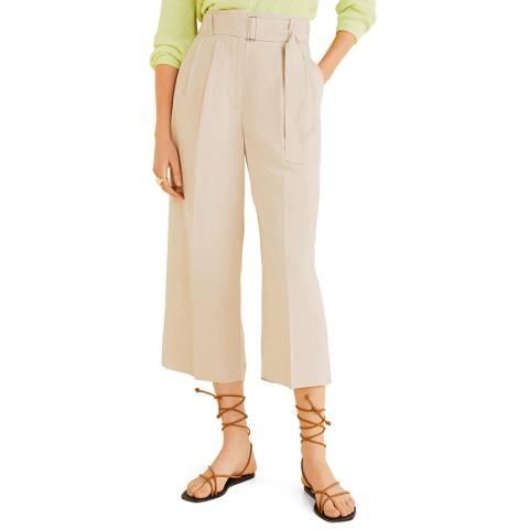 Mango Cream Linen Paper Bag Trousers