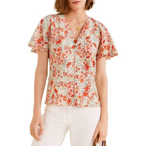 Mango Coral Red Flower Top