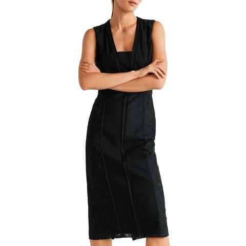 Mango Black Lace Panel Dress