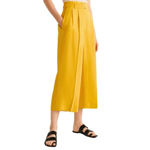 Mango Yellow Linen Paper Bag Trousers