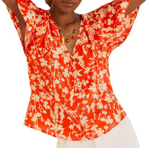 Mango Red Flowy Floral Blouse