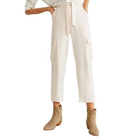 Mango Ecru Cotton Cargo Trousers
