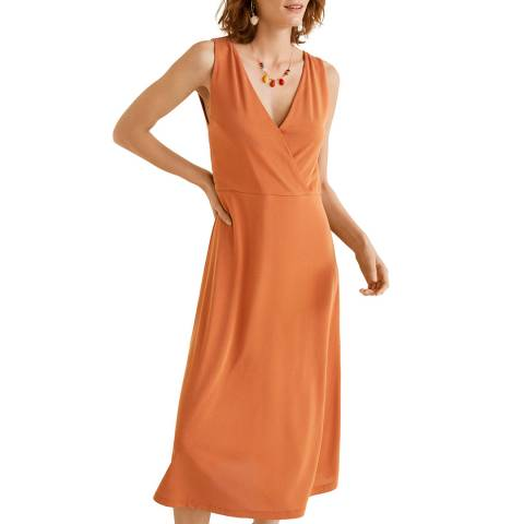 Mango Orange Midi Dress