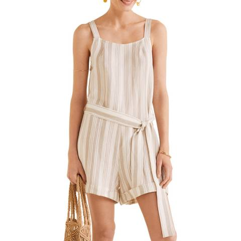 Mango Off White Linen-Blend Striped Jumpsuit