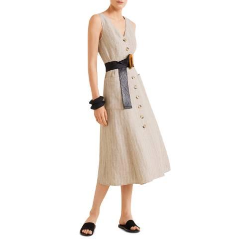 Mango Beige Linen-Blend Midi Dress